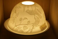 Nordic Lights Spring Birds Bone Porcelain Candle Shade Tea Light Holder Gift