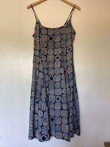 Vintage 90s Navy Patterned Dress Size UK 12