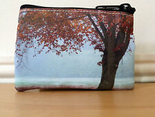 Coin Purse Small Makeup Bag Zipper Pouch Autumn Print Gifts Handmade Ladies