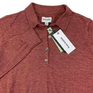 Frank & Oak Men M Merino Wool Fine Knit 1/4 Button Pullover Sweater Rust NWT $80