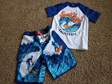 GYMBOREE brand NWT boy's sz 6 Surfer board shorts & rash guard blues/orange
