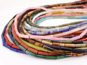 Natural Gemstone Round Tube Loose Spacer Beads 4mm x 13mm 15.5'' Inches Strand