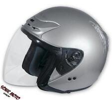 Open Face Motorbike Motorcycle Scooter Crash Men's Jet Helmet Visor Silver XS