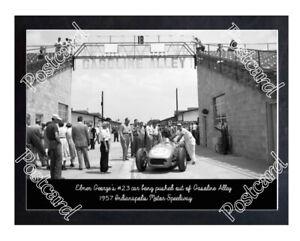 Historic Elmer George's #23 car down Gasoline Alley 1957 Indy Postcard