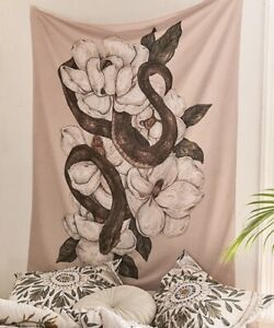 "NEW 60""x52"" Snake Wrapped Magnolia Flowers On Beige Tapestry Wall Decor w/Clips"
