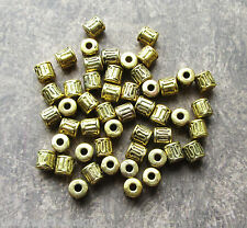 50 Antique Gold Tube Spacer Beads 5.5mm, Hole 2.5mm Metal