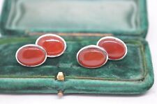 Vintage styled Sterling silver cufflinks with a Red Carnelian insert