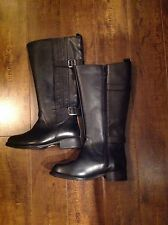 Penningtons Ladies Black Leather Size 7W Wide Calf Boots Womens