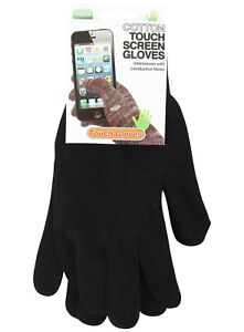 Gloves Thermal Winter Warm Mens Ladies Womens Touch Screen Cotton One Size Black