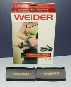 Weider Wrist Weights TWO 1 lb weight Comfy Neoprene Fabric Slip on or Grip New!