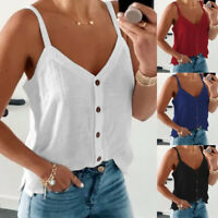 Women V Neck Suspender Tank Solid Casual T Shirt Loose Button Blouse Beach Tops