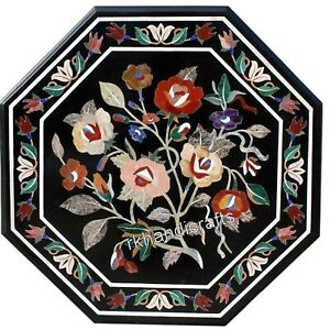 24 Inches Marble Sofa Table Top Multi Stones Inlaid Coffee Table Floral Work