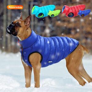 Padded Winter Dog Vest Zip Up Dog Jacket Coat Sweater with Hole for Dog Leash