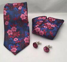 Flower Print Tie, Handkerchief And Cufflink Set