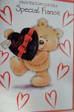 VALENTINES DAY CARD for a SPECIAL FIANCE bear hearts design