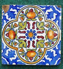 Antique 18th C. Dutch Delft polychrome Ornament Flower Pompadour Tile