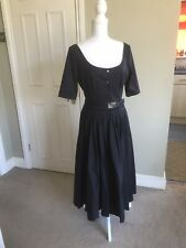 Prada Size 42 UK 10 (small 12) Dress Navy Blue Summer Wedding Races Smart