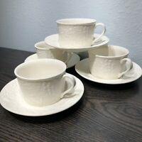 Mikasa English Countryside - White Flat Coffee Cups & Saucers (Set of 4) DP900