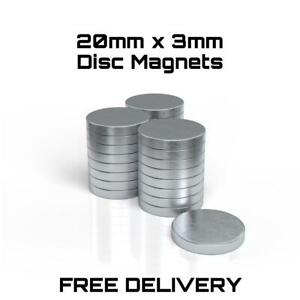 VERY STRONG Neodymium Disc Magnets 20mm x 3mm N42 Rare Earth Magnets UK STOCK