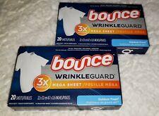 (2) Bounce Wrinkle Guard Mega Dryer Sheets Outdoor Fresh 20 Sheets - Iron Less