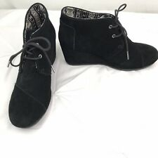 TOMS WOMENS BLACK SUEDE LEATHER ANKLE BOOTS SIZE 9.5 WEDGE BOOTIES SHOES (z)