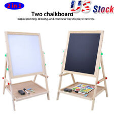 Wooden Kids Easel Art Children White/Blackboard Stand Chalk Drawing Board Gifts