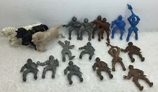 54mm Lido Knights lot of 18 Toy Soldier blue gold Bronze Horses Vintage Original