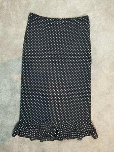 Vintage New Look Polkadot Spotty Frill Hem Midi Skirt UK 10 VGC Y2K 90s 00s