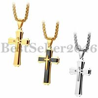 """Mens Womens Stainless Steel Cross Crucifix Pendant Religious Necklace Chain 22"""""""