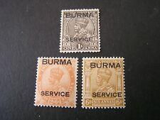 """*BURMA, SCOTT # 04+06+O8(3), 1937 KGV OFFICIAL """"BURMA SERVICE"""" ISSUE MH"""