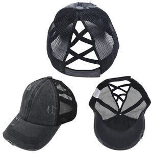 Fashion Anti Sun Ripped Mesh Ponytail Criss Cross Baseball Cap Adjustable Hat