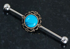 """Steel Industrial Barbell 14g 1.5"""" 38mm 1 Pc Turquoise Burnish Gold 316L Surgical"""