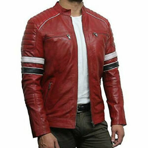 Tailor Made Men's Genuine Biker Racing Jacket Lambskin Leather Stylish Jackets