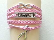 BREAST CANCER-INFINITY-BLESSING - LEATHER BRAIDED BRACELET - PINK-ADJUSTABLE #24