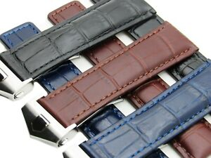 20-22mm Leather Watch Strap Band With Buckle Made For OMEGA SEAMASTER 300