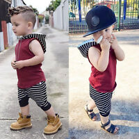 Toddler Kids Baby Boy Hooded Vest Tops+Shorts Pants 2pcs Outfits Clothes Set