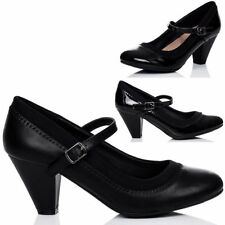 Mary Janes Block Unbranded Synthetic Upper Heels for Women