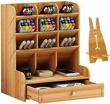 Wooden Pen Desk Organizer with Drawer 12 Compartments Office Supplies Storage