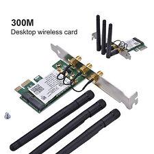 Wireless Wifi Network Card Mini PCI-E To PCI-E 1X Desktop Adapter + 3 Antennas S