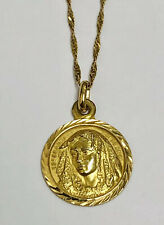 "18k Solid Gold Virgin Mary (ESPERANZA MACARENA) Pendant & 22"" 18K Gold Chain"
