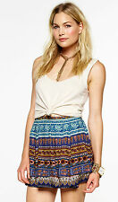 NOVELLA ROYALE Blue Moroccan Rose CLEO MINI Skirt, Sz M SOLD OUT