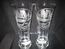 NEW YORK ISLANDERS 2 ETCHED LOGO PILSNER 20 oz GLASSES