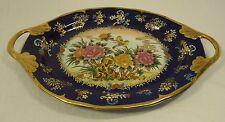 Designer 77-58d Vintage Hand Painted Oriental Cobalt Serving Platter Ceramic