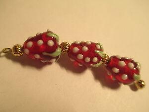 12 Yummy Red 14x12mm Strawberry Lampwork Glass Beads   SB