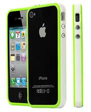 Apple iPhone 4 4s, bumper TPU protección funda protectora de silicona, funda cascara Weiss verde 030