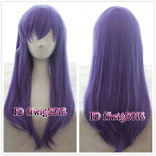 Fate Stay Night Matou Sakura Straight Purple Anime Cosplay Wig +free wig cap