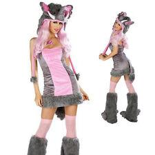 Sexy Woman Pink+Grey Elephant Halloween Animal Costume Fancy Party Cosplay Dress