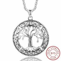 925 Sterling Silber Halskette Baum des Lebens runde Anhänger Damen Schmuck NEU.