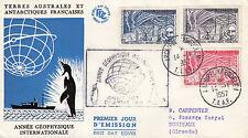 T.A.A.F.: 1957 année géophysique internationale Set SS19-21 sur Illustrated FDC