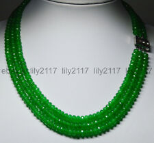 "17-19"" 3Rows Natural Green Emerald 4X6mm Faceted Rondelle Beads Gems Necklaces"